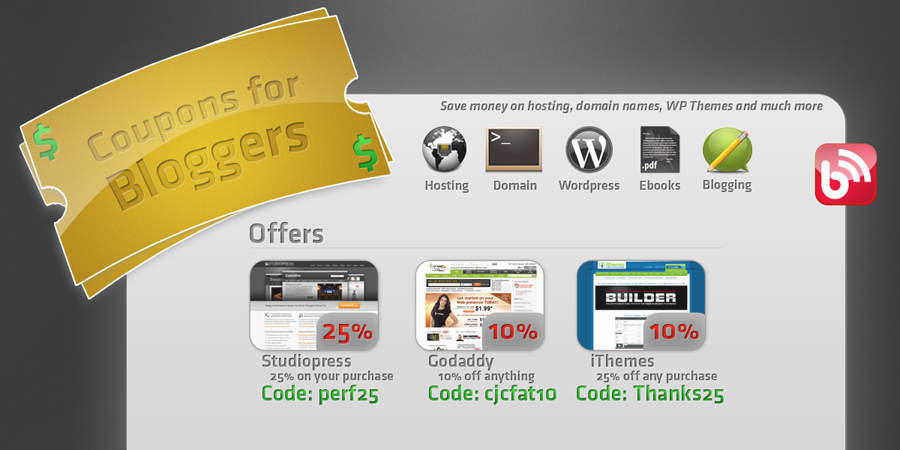 Coupons for bloggers - Website Mockup